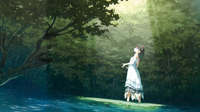 dress, Afterschool of the 5th year, anime, Kantoku, anime girls, park, trees, original characters, green, black hair, landscape, Shizuku Kantoku, short hair, forest, white dress