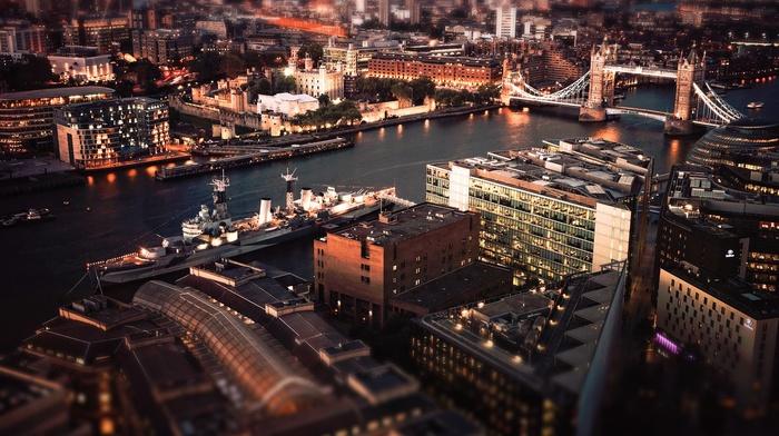 river, UK, city, London, Tower Bridge, boat, tilt shift, hms belfast, night