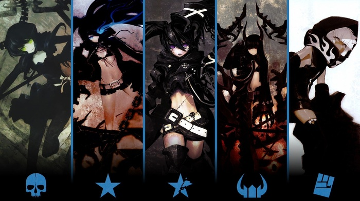 Strength Black Rock Shooter, Insane Black Rock Shooter, anime, dead master, anime girls, black gold saw, Black Rock Shooter