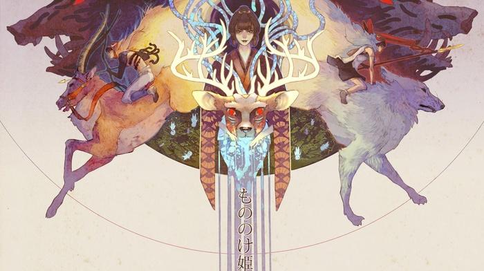 Princess Mononoke, artwork, deer, anime, Studio Ghibli