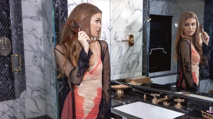 reflection, model, mirror, Amberleigh West, girl
