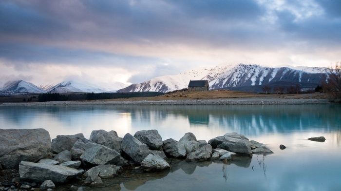 landscape, New Zealand, nature, hills, stones, snowy peak, mist, clouds, water, house, lake, reflection, rock, trees, mountains