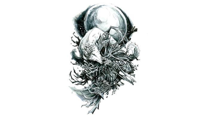 drawing, branch, Dark Souls, moon, animals, minimalism, monochrome, hands, fantasy art, wolf, digital art, white background