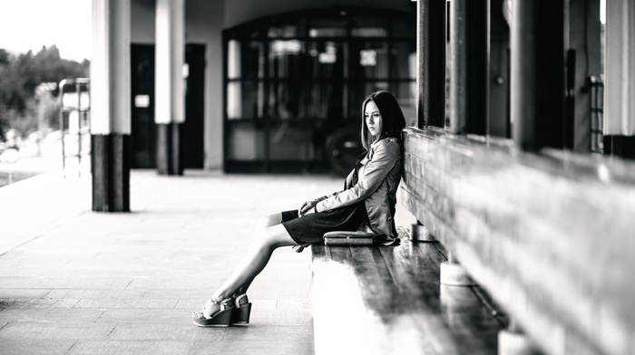 urban, sadness, high heels, looking away, girl, brunette, building, long hair, alone, model, skirt, Catherine Timokhina, depth of field, girl outdoors, sitting, monochrome, bench