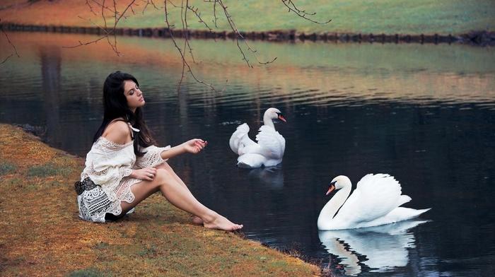 sitting, model, Aurela Skandaj, barefoot, white tops, bare shoulders, branch, nature, water, long hair, brunette, girl, swan, girl outdoors