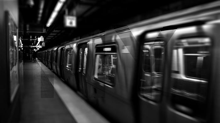 monochrome, underground, subway, vehicle, metro, train, New York City