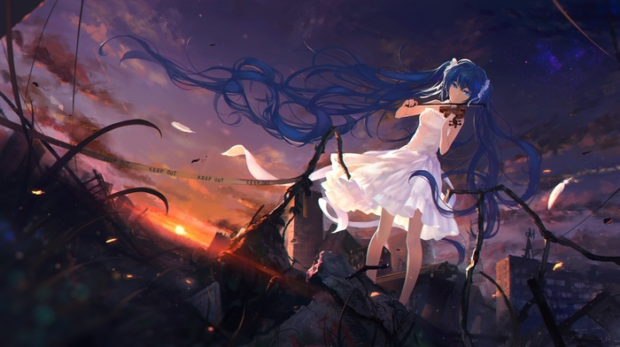 debris, stars, white dress, twintails, anime, long hair, wind, feathers, anime girls, sunset, Hatsune Miku, Vocaloid, herb, clouds, violin