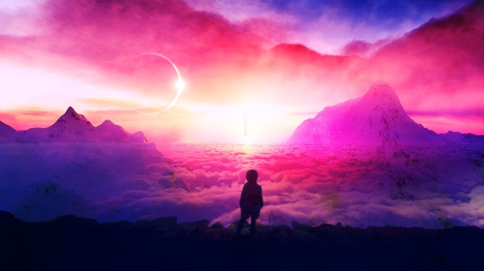 eclipse, surreal, mountains, space, solar eclipse, sunset