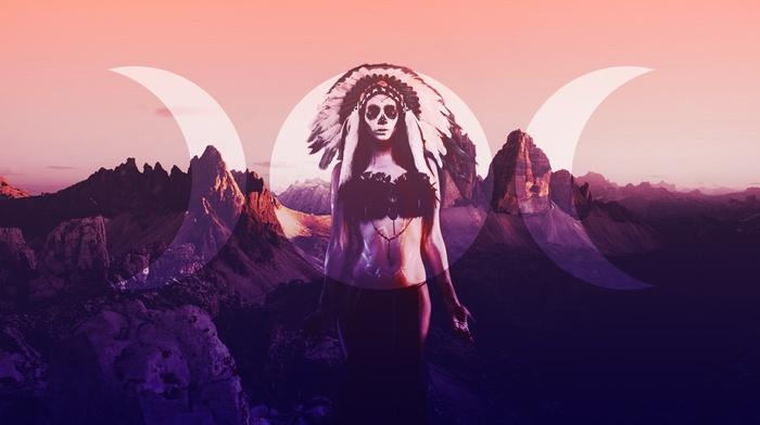 digital art, Dia de los Muertos, Skull Face, moon, girl, landscape, feathers