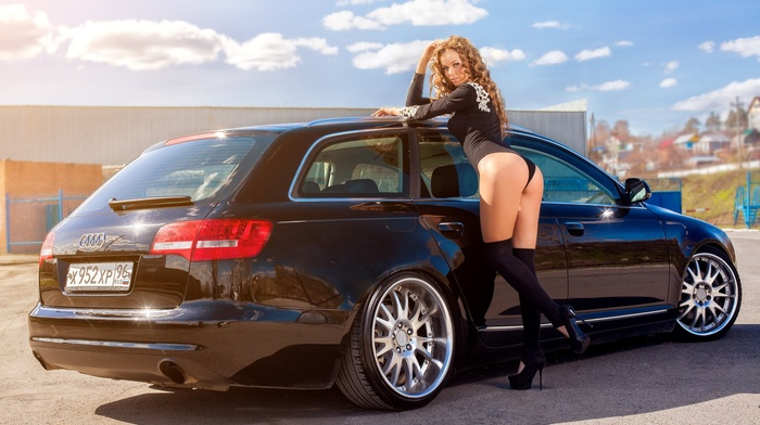 girl with cars, knee, highs, girl, black stockings, girl outdoors, C6, A6, Audi, ass, leotard, blonde, 4F, bodysuit, high heels