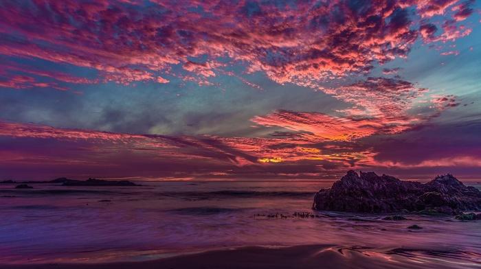 landscape, california, bay, rock, sea, sunset, clouds