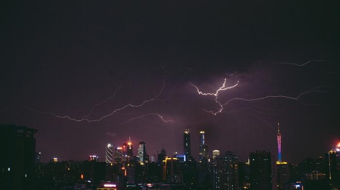 lightning, skyscraper, city, night, city lights