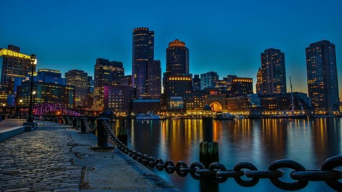 waterfront, skyscraper, chains, Boston, dock, night, city, reflection, cityscape, cobblestone