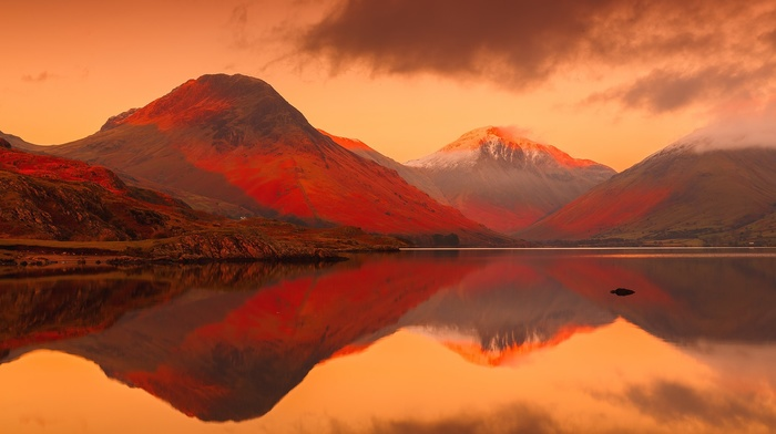 landscape, lake, mountains, England, sunset, Lake District, UK, reflection