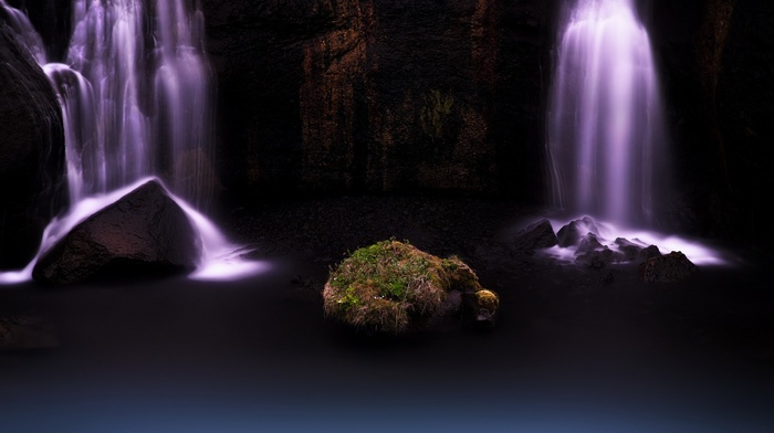 nature, long exposure, rock, waterfall