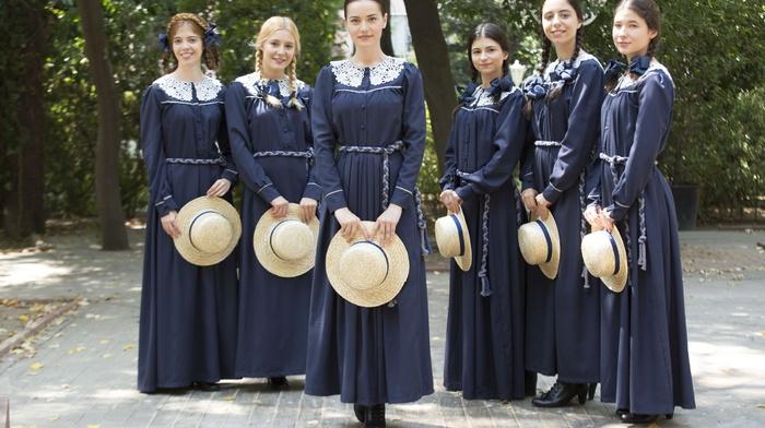 TV, ribbon, twintails, Fahriye Evcen, brunette, Turkish, school uniform, braids, group of girl, people, girl, hat