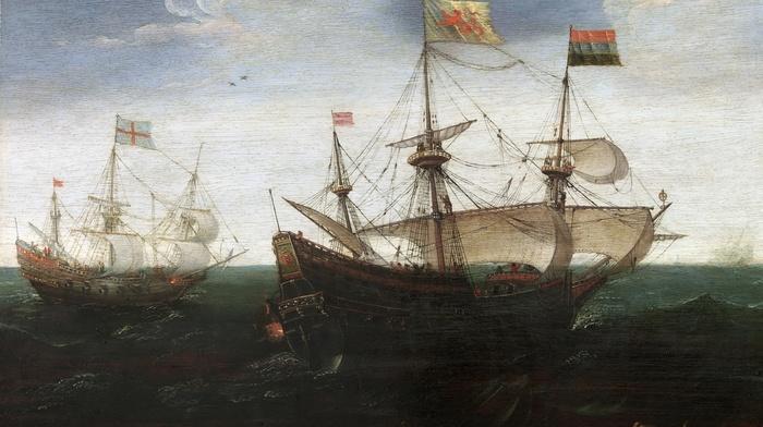 artwork, painting, ship