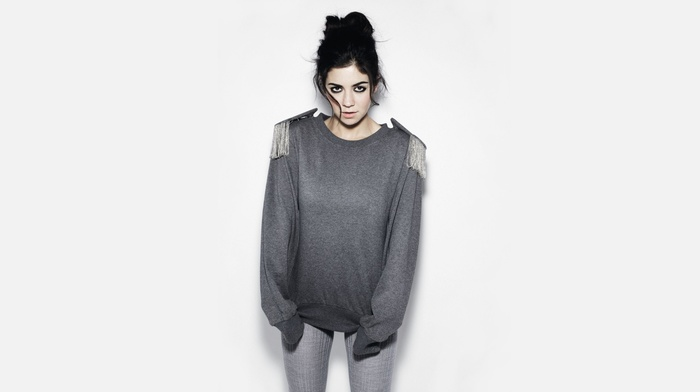 brunette, musician, singer, white background, girl, tight clothing, Marina and the Diamonds, sweater, looking at viewer, makeup, music, simple background, hair in face, long hair, open mouth