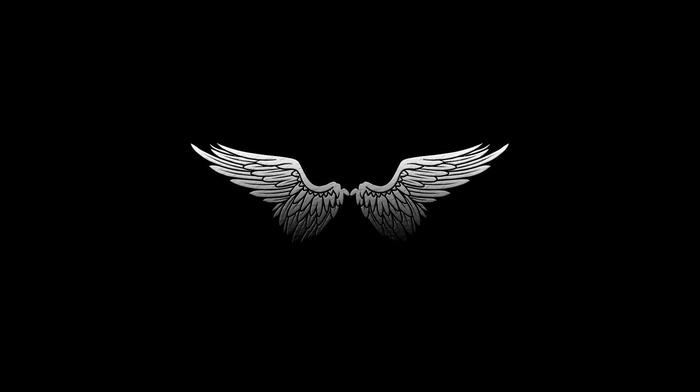 wings, monochrome, feathers, digital art, black background, angel, minimalism, white