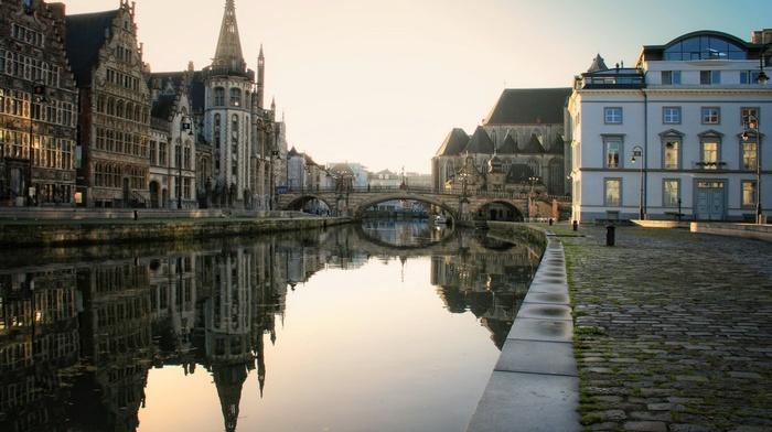 street light, sunlight, architecture, city, reflection, Belgium, river, cityscape, old bridge, tower, building, church, Gent, old building