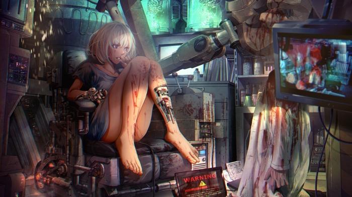 anime girls, laboratories, cyborg, mecha girls, steampunk, anime, barefoot, original characters