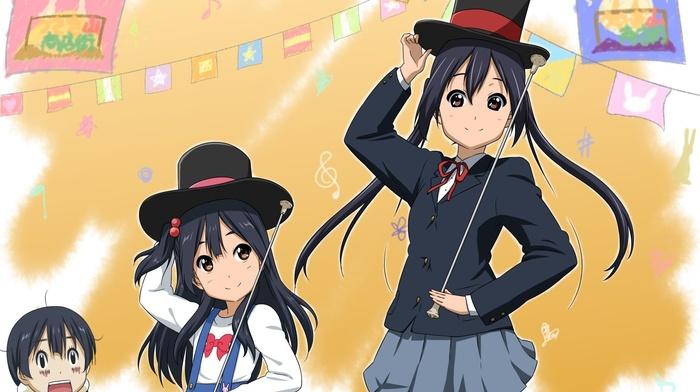 top hat, skirt, Kitashirakawa Tamako, twintails, anime girls, Azuki Azusa, schoolgirl, dark hair, long hair, Tamako Market, Kitashirakawa Anko, K, on