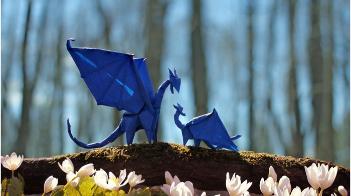 tail, flowers, dragon, depth of field, trees, wings, origami, fantasy art, nature, branch, paper