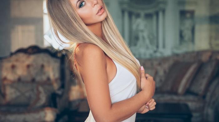 girl, white dress, blonde, looking at viewer