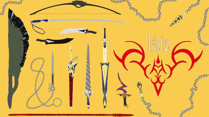 vector, anime, FateStay Night, illustration, fantasy weapon, fate series, weapon, anime vectors