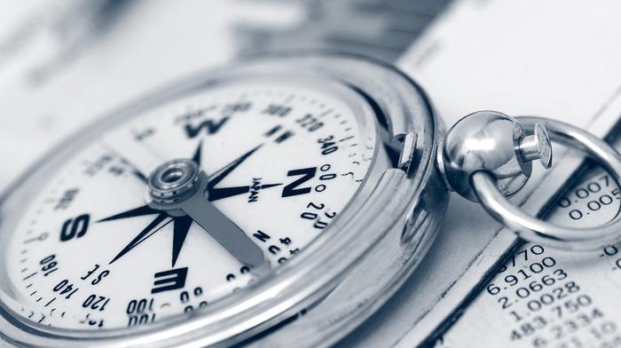 metal, compass, paper