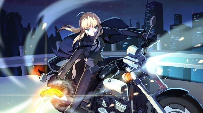 motorcycle, anime girls, fatezero, fate series, sword, Saber, anime