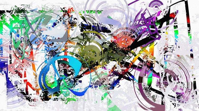 painting, white background, artwork, circle, lines, motorcycle, colorful, paint splatter, abstract