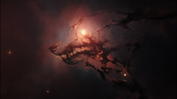 nebula, universe, muzzles, glowing, space, imagination, fangs, wolf, stars, digital art, animals