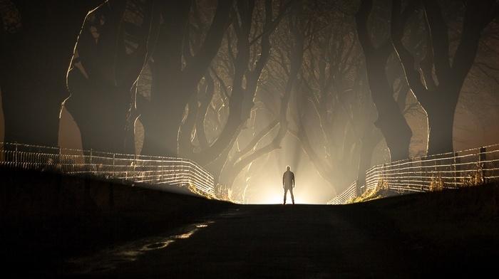 road, silhouette, dark, night, lights, men, nature, fence, mist, landscape