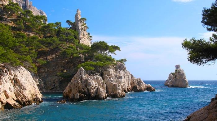 nature, landscape, beach, France, sea, trees, coast, island, rock