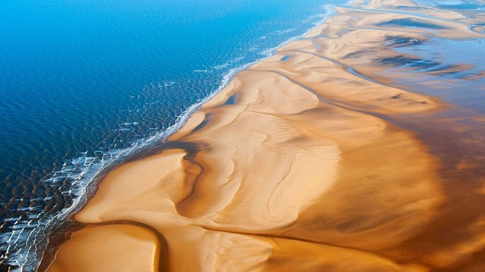 sunlight, landscape, UK, aerial view, nature, beach, sand, sea