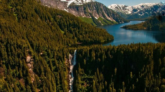 nature, snowy peak, mountains, lake, Alaska, trees, landscape, waterfall, summer, forest