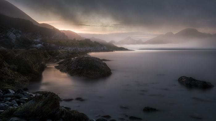 nature, mountains, Norway, coast, dark, sunset, mist, landscape