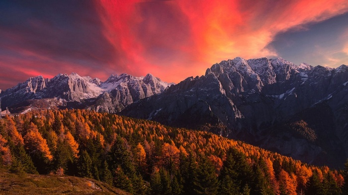 nature, clouds, landscape, fall, Alps, snowy peak, trees, sky, mountains, sunset, forest