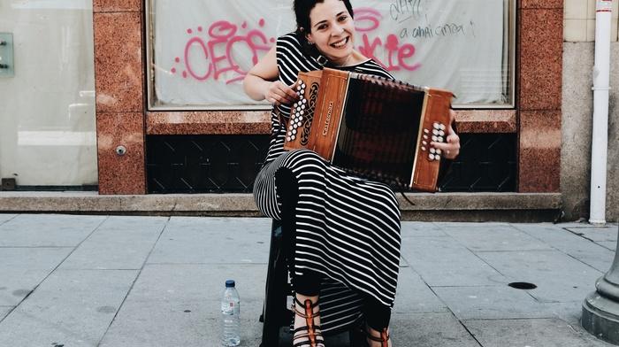 street music, musical instrument, girl, music