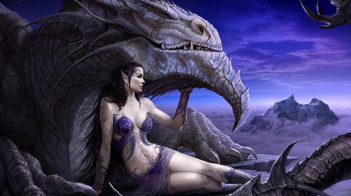 artwork, fantasy art, girl, dragon
