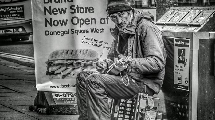street music, men, old people, monochrome