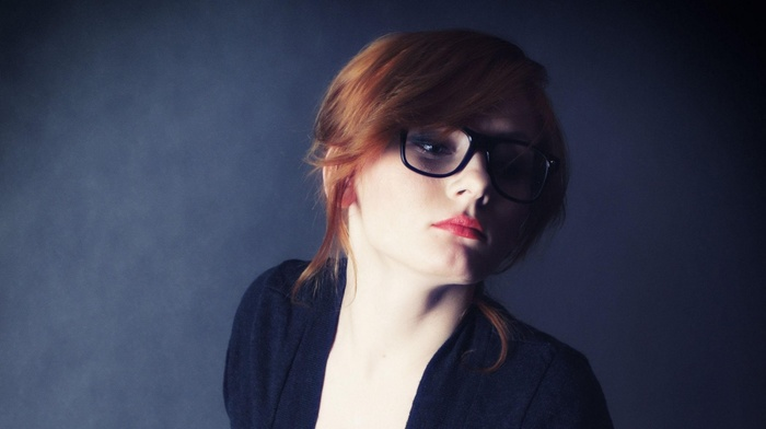 makeup, redhead, simple background, glasses, girl with glasses, girl, model, black dress, looking away, red lipstick, portrait