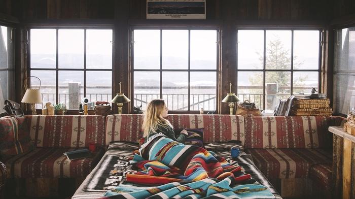 colorful, cabin, blonde, blankets, interior, window, snow, girl, vignette