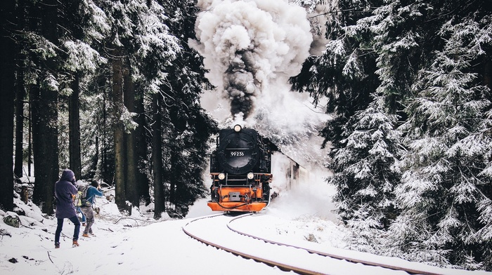 snow, nature, railway, vehicle, train, winter