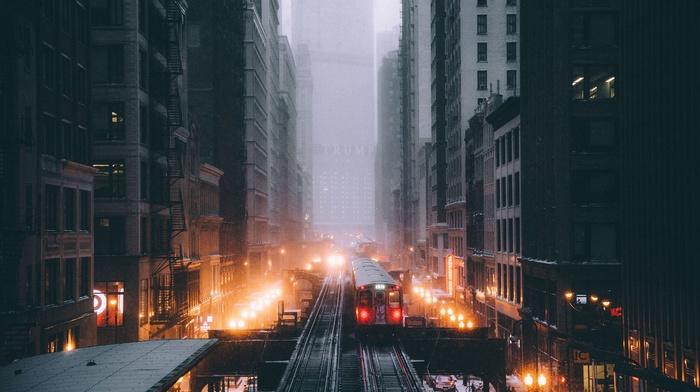 skyscraper, vignette, Chicago, railway, street light, street, snow, cityscape, train, lights, metro, street view