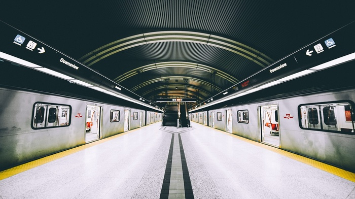 Canada, Ontario, urban, subway, symmetry, Toronto, vehicle, train
