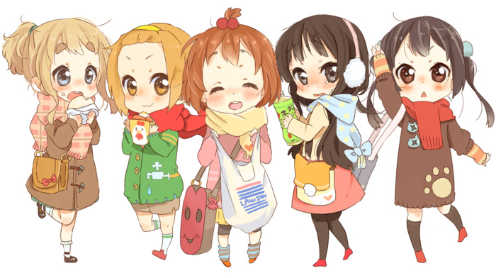 Kotobuki Tsumugi, anime girls, chibi, colorful, Tainaka Ritsu, Hirasawa Yui, simple background, Akiyama Mio, Nakano Azusa, blushing, anime, K, on