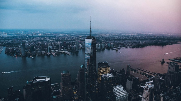 cityscape, Manhattan, river, boat, helicopter view, One World Trade Center, New York City