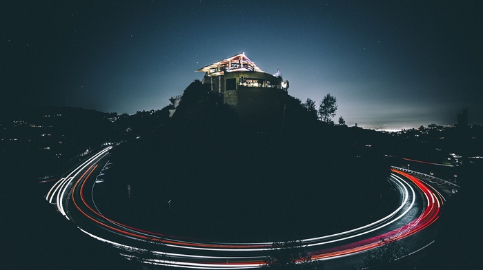 long exposure, night, stars, light trails, house, los angeles